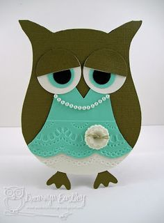 """Stampin' Up Owl Punch.  Love the color combinations and embossing to make the """"dress""""."""