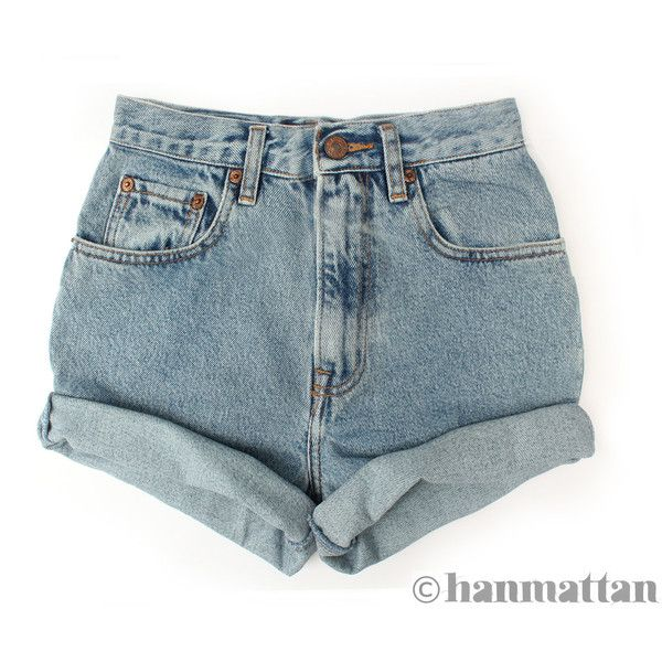 "Hanmattan ""TURN"" vintage waisted denim shorts ALL SIZES blue cuffed... ($26) ❤ liked on Polyvore"