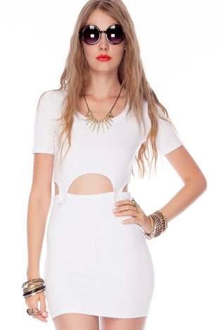 shown to scale Bundy Dress in White $68 at www.tobi.com