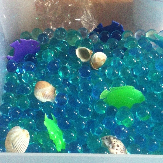 an under the sea sensory box. Great for preschool age on up. Water beads from walmart, non toxic and do not stain. I made a wtaer beads discovery bottle once and the kids went crazy for it. Even after the beads break they're still fun to play with.