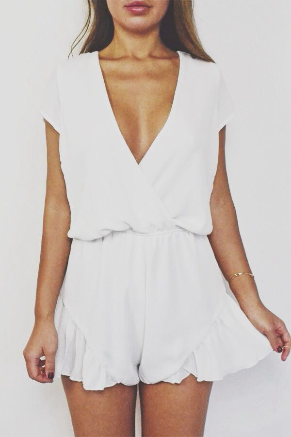 brave white short romper outfit