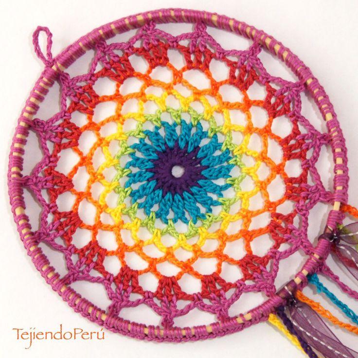 Crochet: atrapa sueños arcoíris!! Video tutorial del paso a paso!
