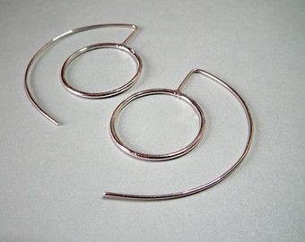 Grote zilveren oorbellen lange zilveren van IvanaVucinovic op Etsy