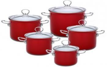 Zestaw 5 garnków z pokrywkami, czerwone (karminowe) - Mizar - Emalia Olkusz