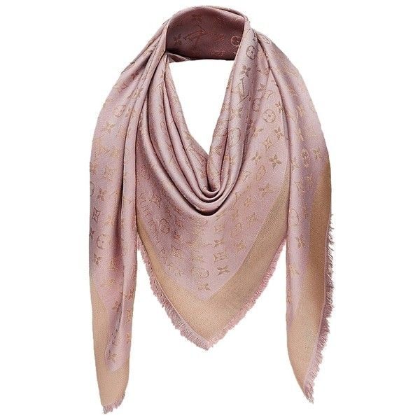 Pre-owned Louis Vuitton Monogram Shine Shawl In Rose/gold Scarf Silk... ($443) ❤ liked on Polyvore featuring accessories, scarves, verone, shawl scarves, monogram shawl, patterned scarves, silk shawl and louis vuitton
