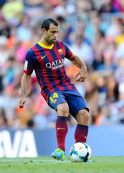 Javier Mascherano of FC Barcelona runs with the ball during the La Liga match between FC Barcelona and Levante UD at Camp Nou on August 18, ...