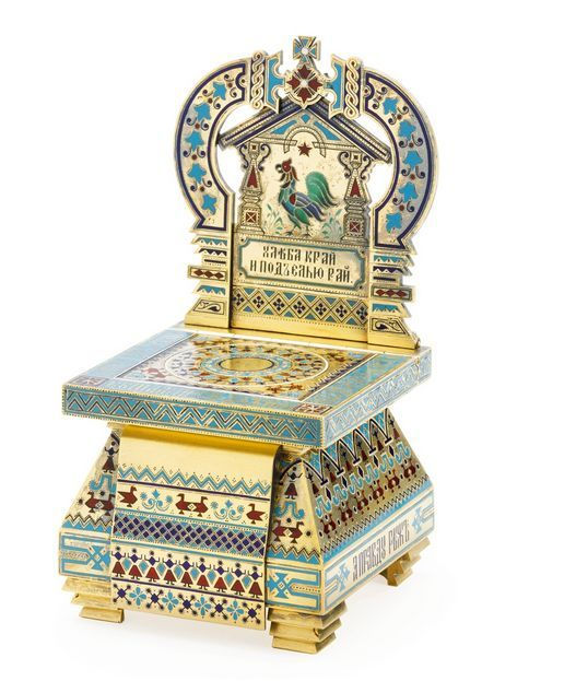 A Russian gilded silver and champlevé enamel salt throne, Maria Adler, Moscow, 1878