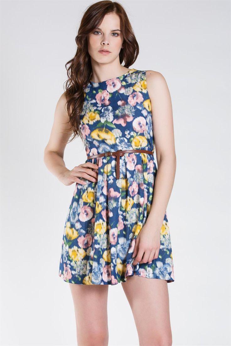 DILVIN 14529 Çiçek Desenli Elbise :: Zinde Market