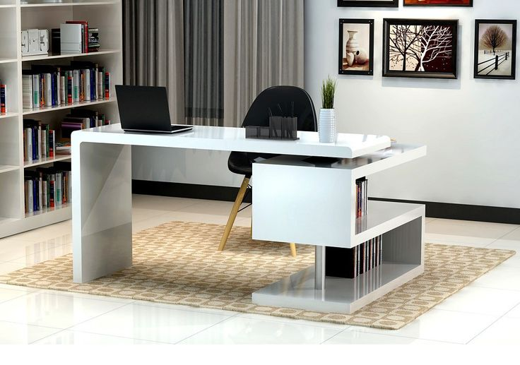 J&M Furniture Modern White and Metal Contemporary Writing Work Computer A33 Office Desk