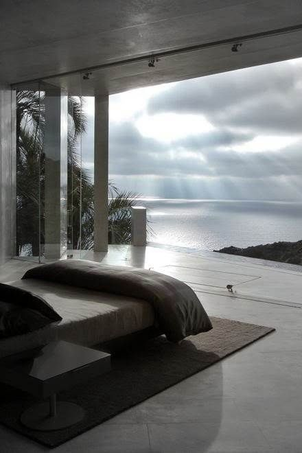Open bedroom with sea view.
