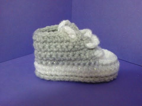 How to crochet My easy new born baby converse style 4 inch sole    slippers p1 - YouTube