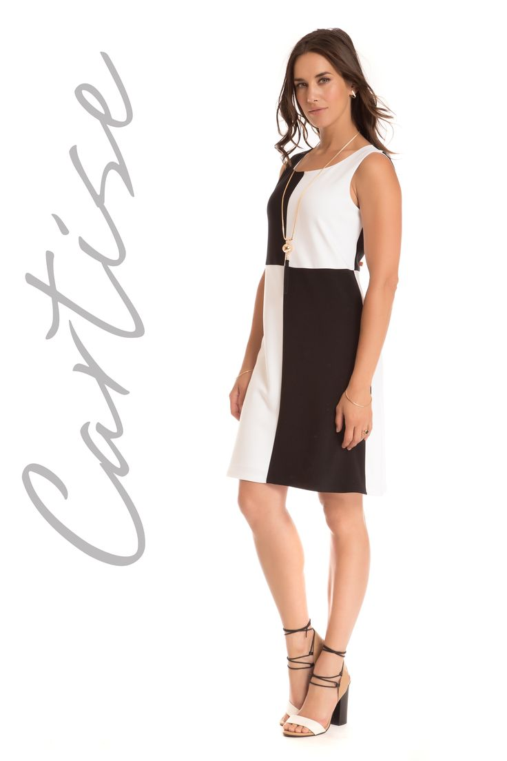 Cartise 2017. Timeless black/white dress in flattering cut. Proudly Made In Canada