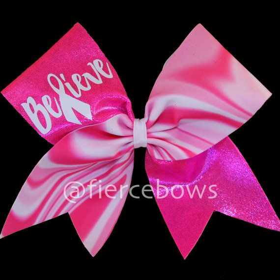 Breast Cancer Awareness Cheer Bow by MyFierceBows on Etsy, $11.00