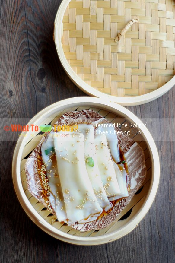 Chee Cheong Fun is one of my favorite Dim Sum items to order. I never ever have Dim Sum without Chee Cheong Fun. Dim sum is the Cantonese term for a type of Chinese dish that involves small individual portions of food, usually served in a small steamer basket