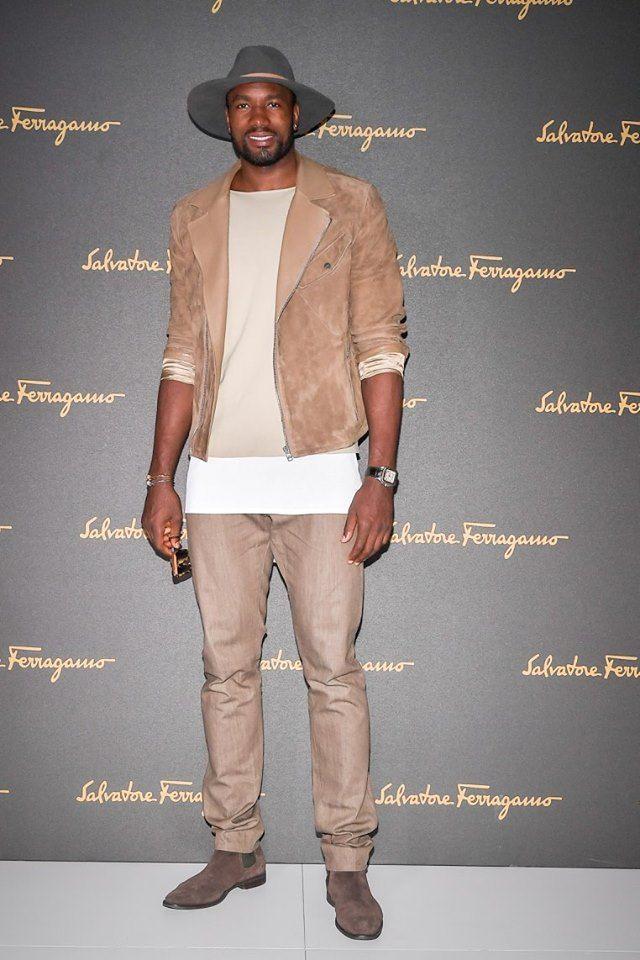 Serge Ibaka attending #FerragamoSS17 Men's runway show.