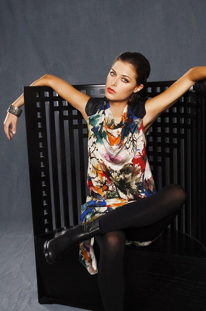 5357 Printed Silk Cowl Neck Dress w Faux Leather Trim