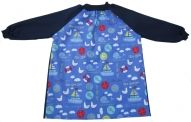 Seaside with Navy sleeves and back. Perfect for messy play at home or kindy. Available in sizes 2, 4 and 6