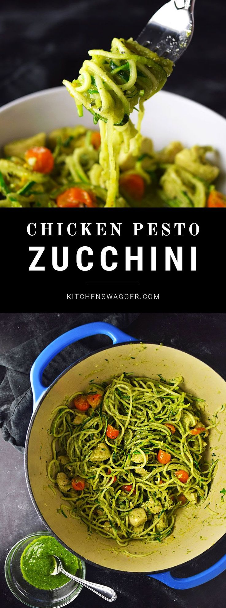 Easy chicken and zucchini noodles tossed in fresh pesto sauce. Just like pasta.