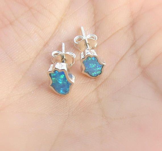 Hamsa Earrings, Opal Hamsa Earrings, Evil Eye #jewelry #earrings @EtsyMktgTool http://etsy.me/2wGkQu9 #minimalistjewelry #delicatejewelry
