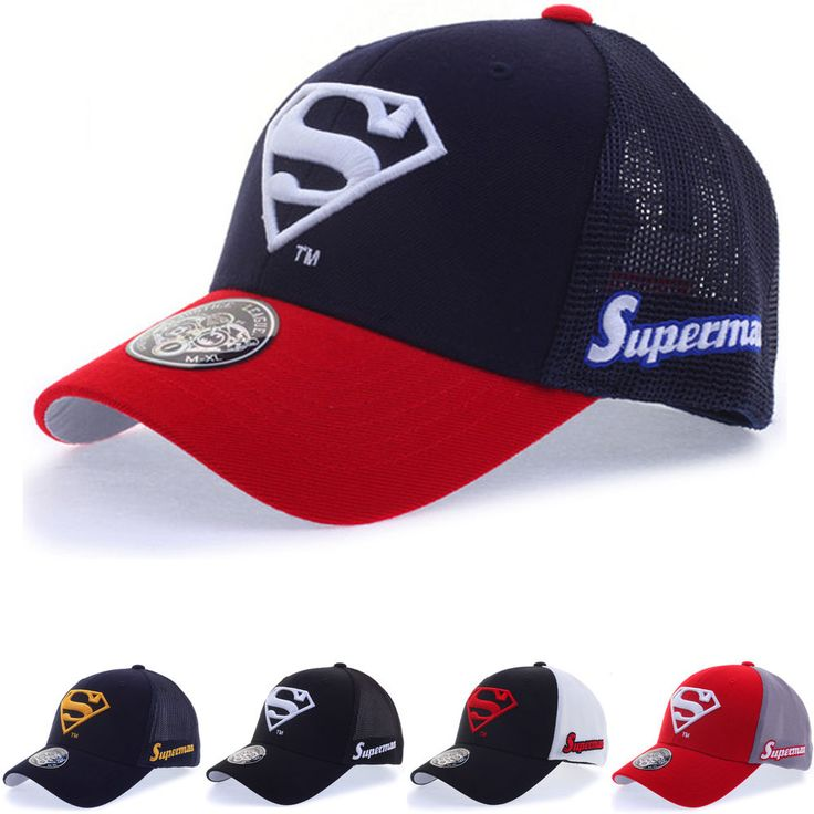 New Mens WB DC Comics Superman S Logo Flexfit Baseball Mesh Cap Stretch Fit Hats #hellobincom #BaseballCapHats