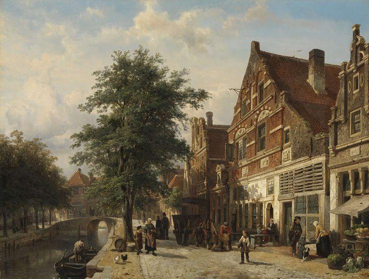 Zuiderhavendijk in Enkhuizen (Netherlands), by Cornelis Springer, 1868