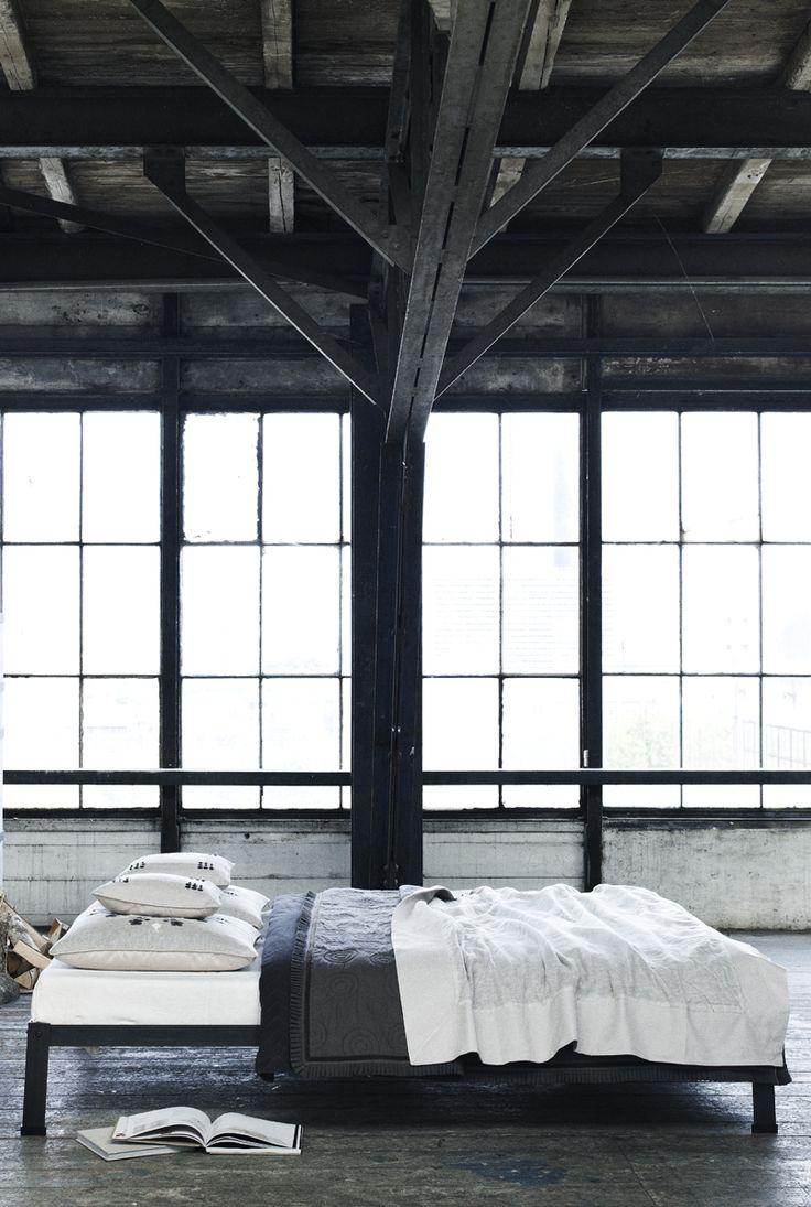 Natural Wood Interiors :: Bedroom, Exposed Dark / Black Wood Ceiling & Beams, Large Open Windows