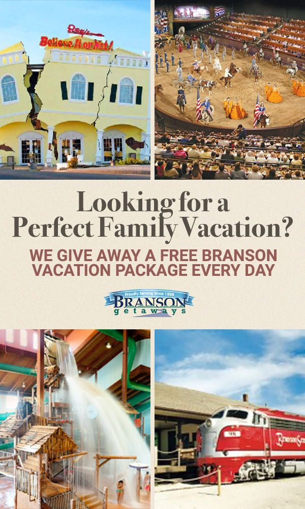 It�s the perfect destination for your next family vacation! Branson, Missouri is home to dozens of world-class attractions. Visit one of Branson�s theme parks for an exciting day of rides and attractions, then enjoy your choice of magic, comedy, dance, acrobatics and drama at one of Branson�s many onstage shows. Enter to win a free vacation package at Branson Getaways.