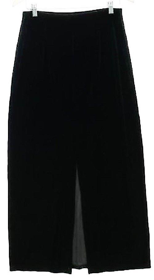 ANN TAYLOR Woman's Long Black Pencil Skirt Size M 28-34x37 Stretch Velvet USA  #AnnTaylor #Pencil