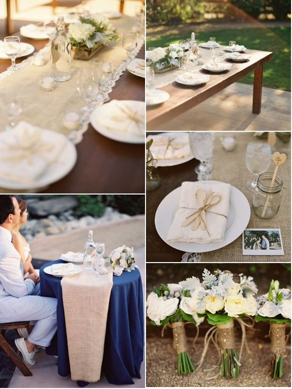 Beautiful style ideas from @Krystle Dean via #stylemepretty. Love the hessian and lace.