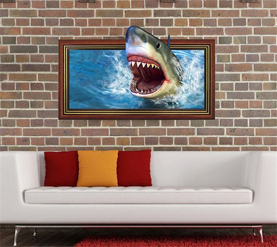 Cool The Shark 3D Wall Decal Stickers/Removable PVC Wall ...