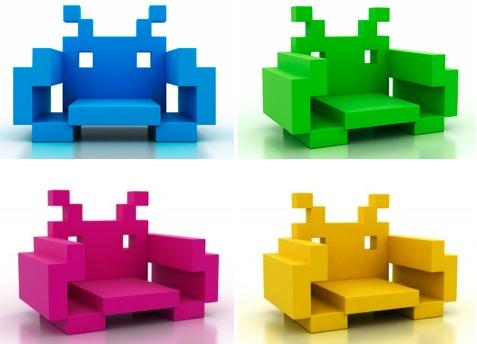 Før jeg dør, skal jeg ha en sjokkrosa Space Invaders Chair. Om så i kjellerboden.