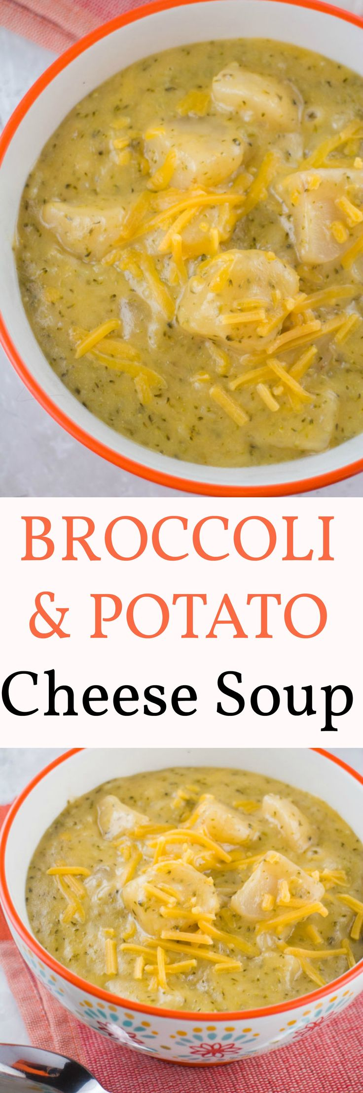 Make this Broccoli and Potato Cheese Soup for a comfort food dinner on a cold Winter night. The soup is cooked on high in a slow cooker for 4 hours. This soup is both delicious and easy to make!