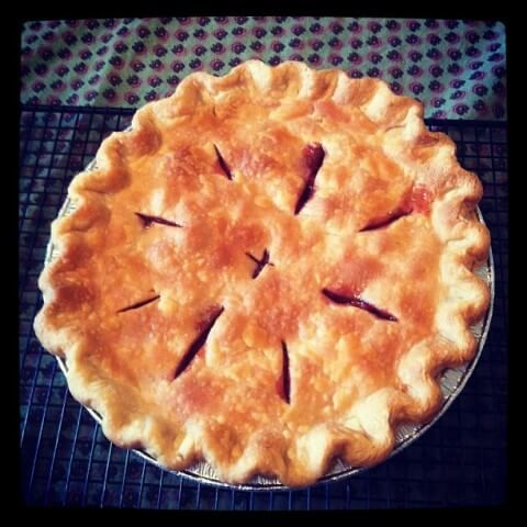 A 5-star recipe for Tart Cherry Pie made with tart cherries, sugar, tapioca, almond extract, pie pastry