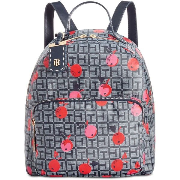 Tommy Hilfiger Julia Cherry Coated-Jacquard Small Dome Backpack ($118) ❤  liked on