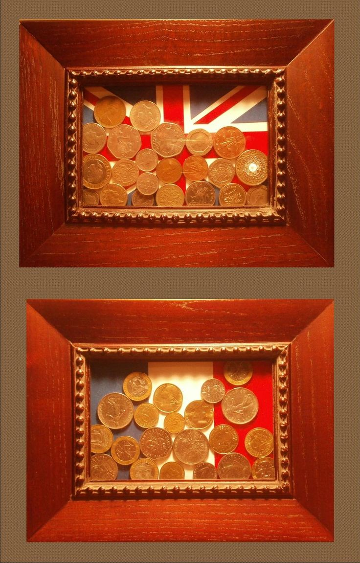Foreign coins with coin's flag as a background! Such a great keepsake. Use a postcard, map, or iconic image from the country if you don't want to use the flag.