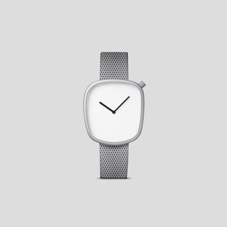 MATTE STEEL ON GERMAN-MADE MILANESE MESH BAND FROM VOLLMER.  Designed by acclaimed, Danish design trio, KiBiSi, and inspired by the worn pebbles found along Scandinavian coastlines, the Pebble watch is a carefully considered timepiece created through a comprehensive process combining time-honored craft and idea-driven innovation.