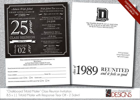 28 best class and family reunion invitations images on pinterest class reunion invitation trifold letter mailer tear off rsvp digital file custom stopboris Image collections