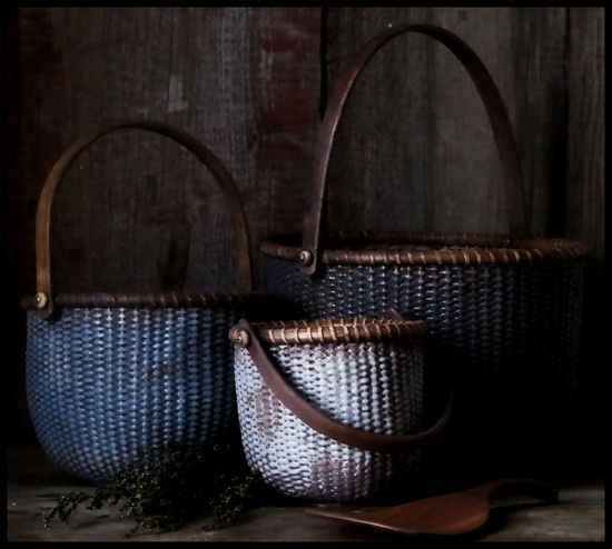My Primitive Early Blue Milk Paint Nantucket Gathering Baskets. ~♥~