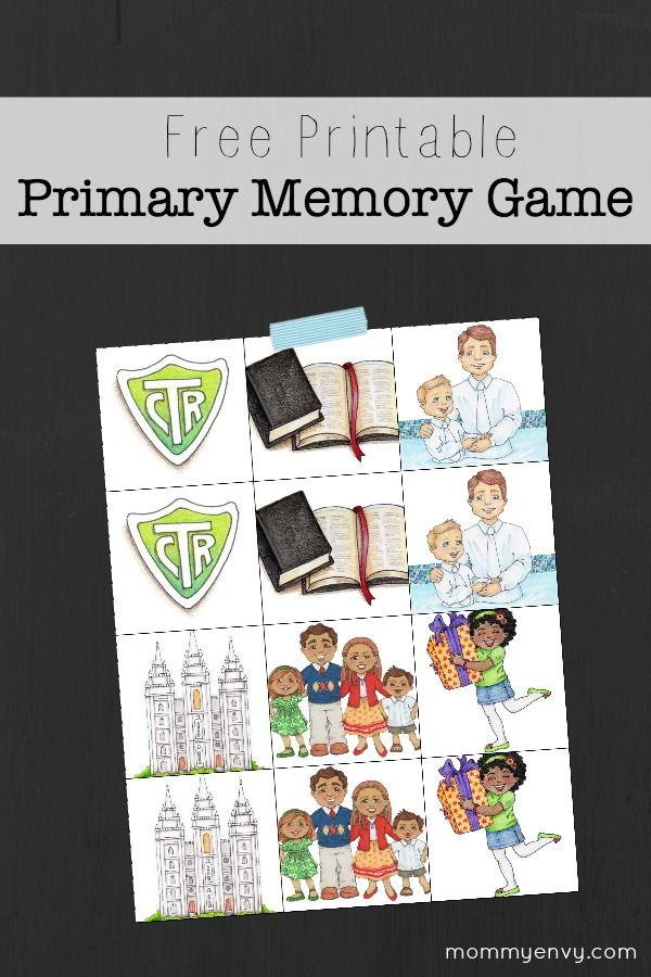 Free Printable Primary Memory Game. LDS Primary Singing Time idea!