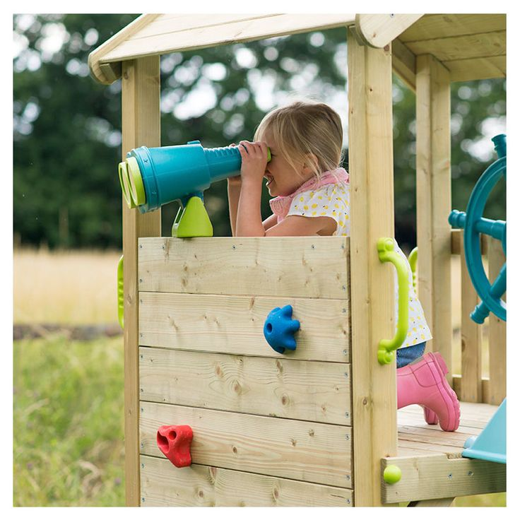 PLUM LOOKOUT TOWER WOODEN CLIMBING FRAME WITH SWINGS  Plum's Wooden Look Out Tower inspires valiant voyages and mighty journeys.    At the top of the tower, look out onto the horizon and use the ships wheel to sail the stormy seas.  The Look Out Tower is full of activities for outdoor adventures.  Made from strong and sturdy FSC certified pine, it's designed to withstand adventurous play all year round.