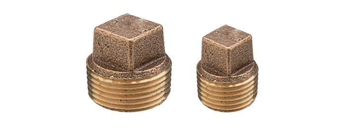 Bronze Pipe Plug  Square Head  Pipe plug fitting with square head and standard male pipe thread in bronze.  The range of available plug fittings with specified plug type (solid or cored) and pipe sizes are as listed in the following table: