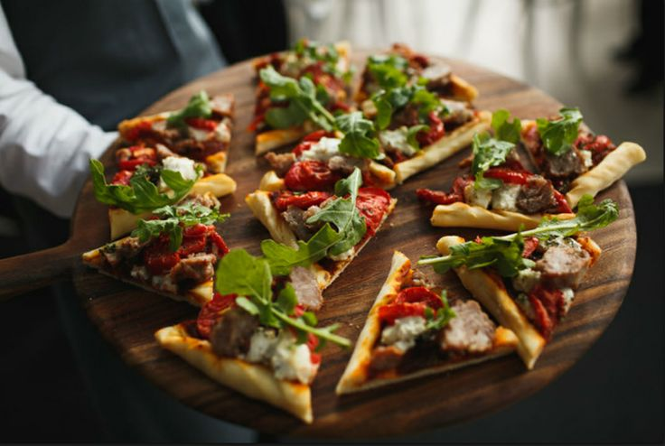Hungry? Gourmet pizzas on rustic timber boards | Four Leaf Styling | Justin Hill Photography