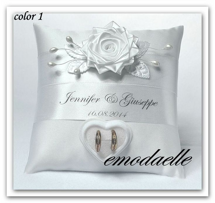 personalized wedding ring cushion pillow with rings holder box 30 color - Wedding Ring Holder