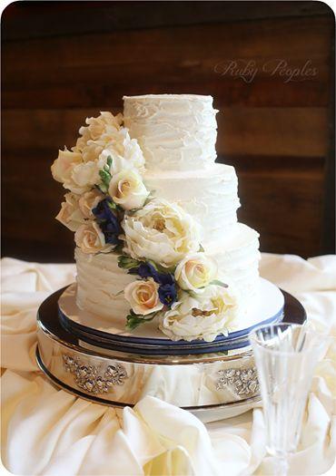 Rustic Sculpted Buttercream Wedding Cake