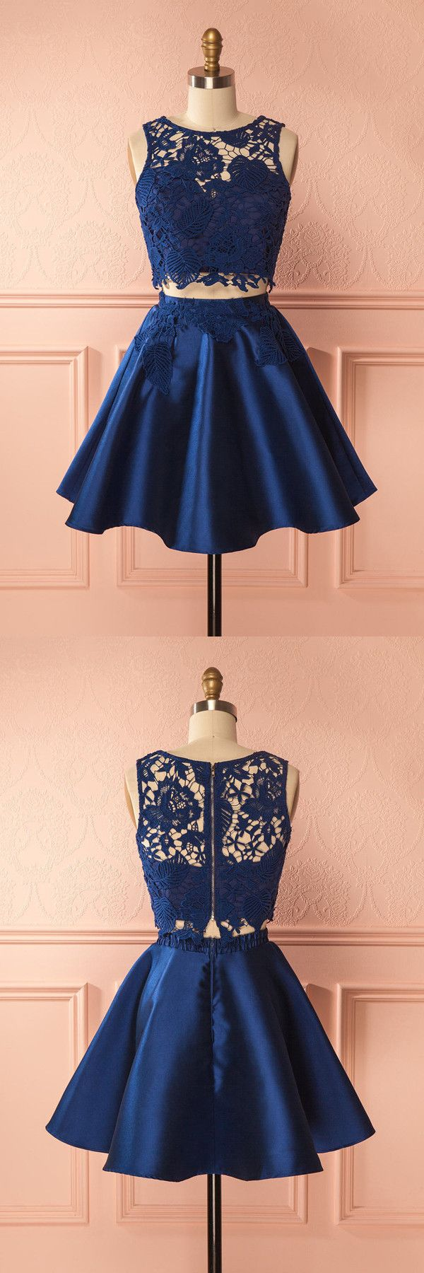 two piece homecoming dress, short homecoming dress, 2017 homecoming dress navy blue short homecoming dress