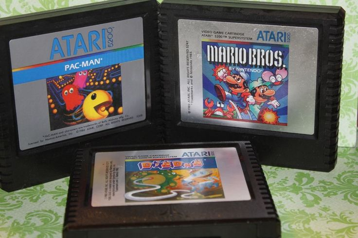 3X Vintage Atari 5200 game cartridge Mario Bros,Pac  Mac ,Dig Bug  #ATARI