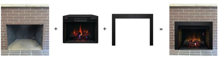 An electric fireplace insert and custom, Made in the USA, trim is the perfect solution for converting a wood-burning fireplace, replacing an insert, RV's, building a custom mantel or surround, new construction, and commercial applications. The trim overlaps the facade by a couple of inches to cover the void between the insert and the opening for a finished look. Free shipping and no sales tax.