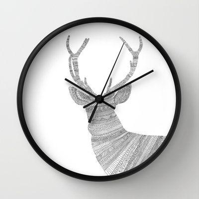 Stag Wall Clock by Speakerine / Florent Bodart - $30.00
