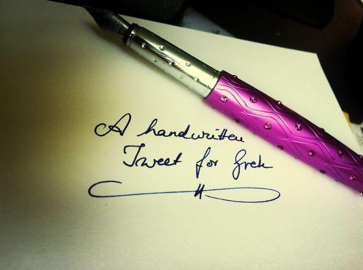 A handwritten tweet. :)