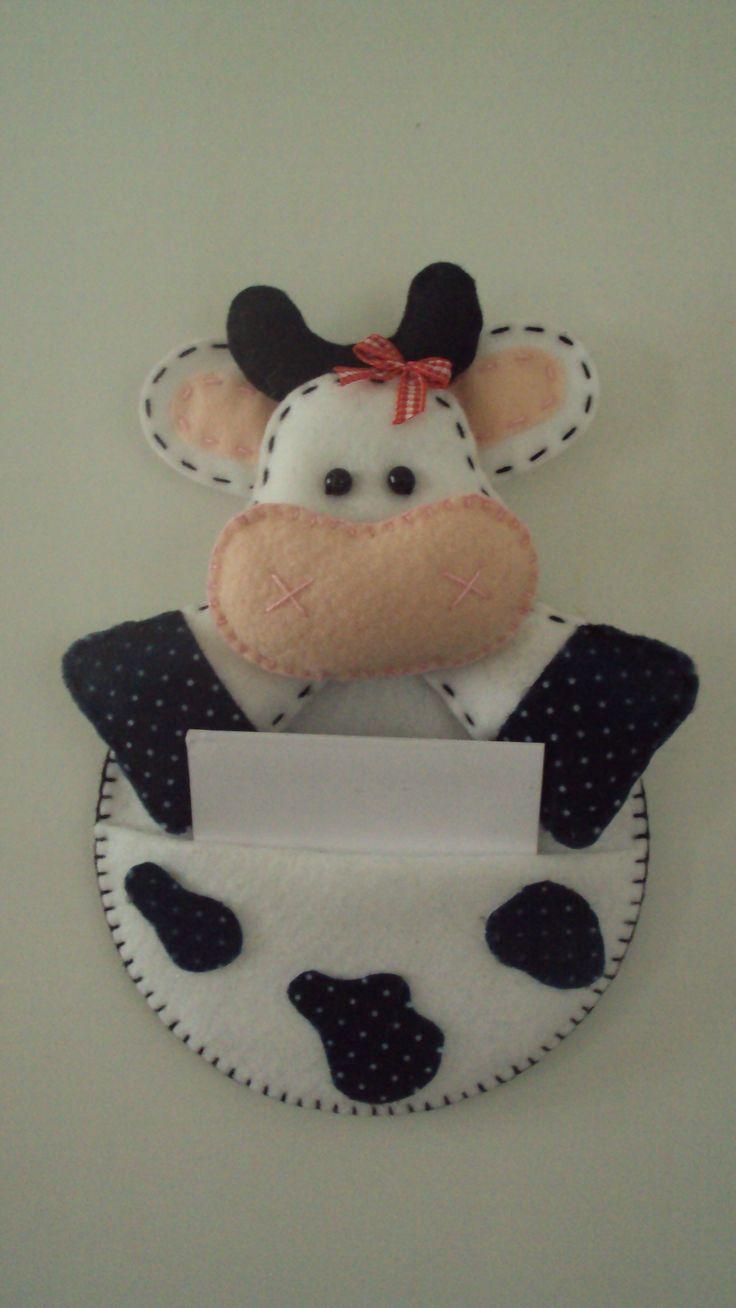 Porta recados #cow #felt